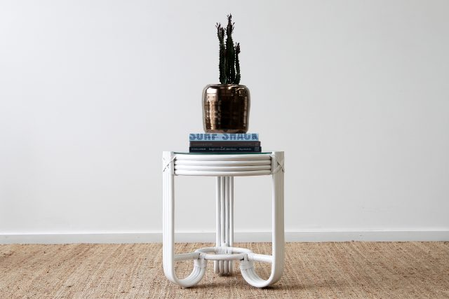 Pretzel rattan side table
