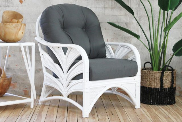 Tropical design rattan armchair