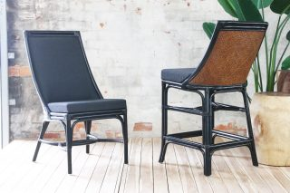 Cane barstool and dining chair