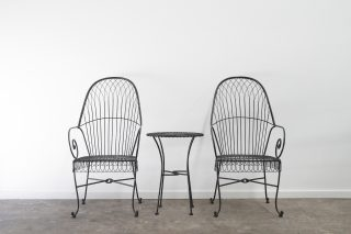 wire work dining chair