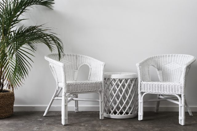 white wicker chairs
