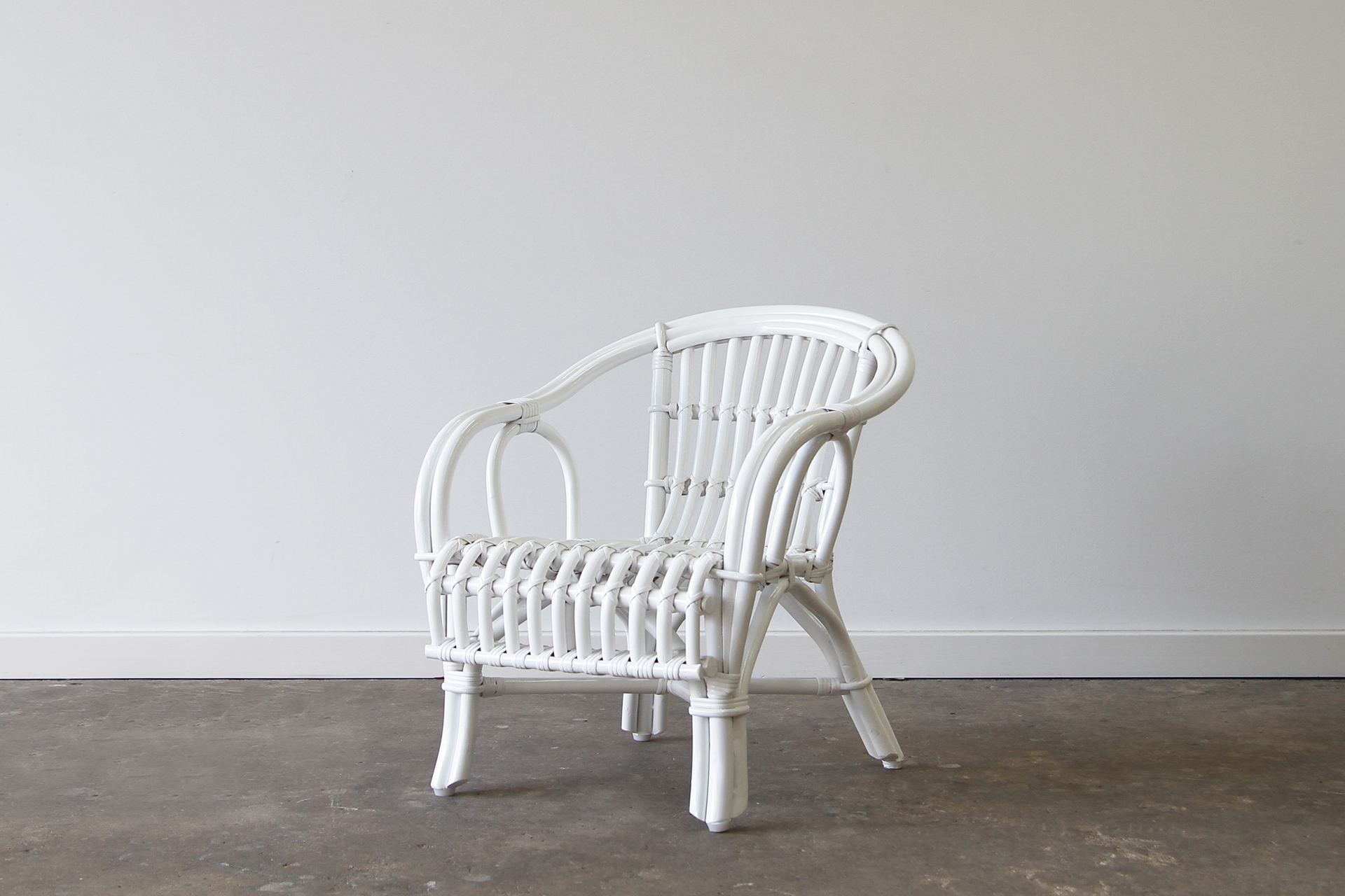 Childs white cane chair