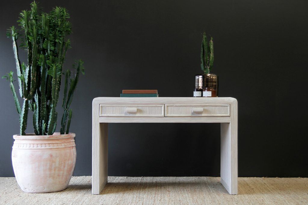 white wash rattan desk