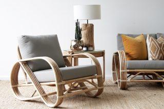 Pretzel rattan armchair natural