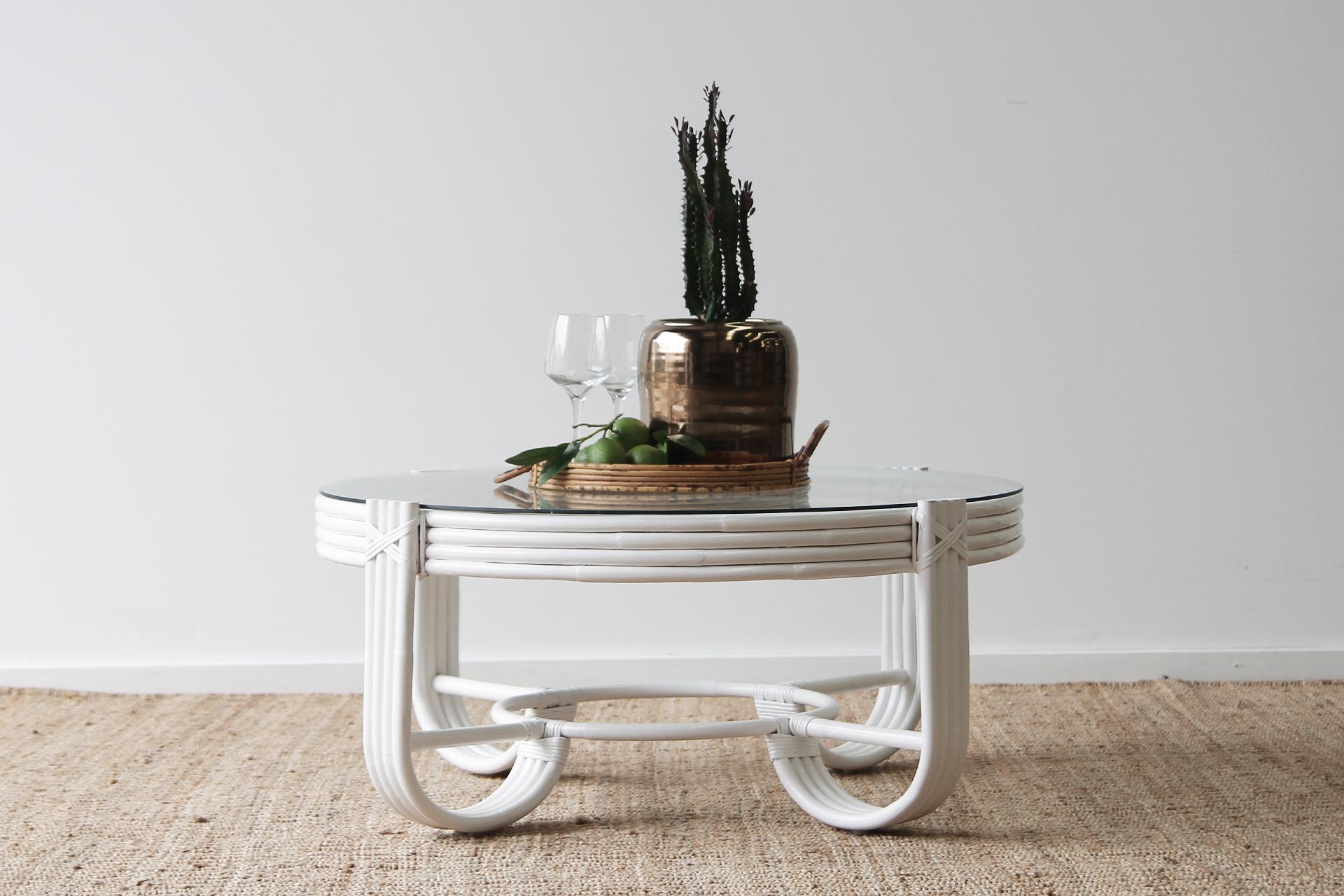 Pretzel white rattan coffee table