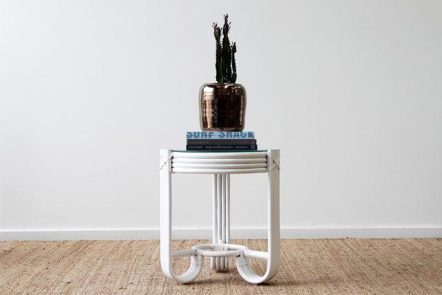 Pretzel rattan side table