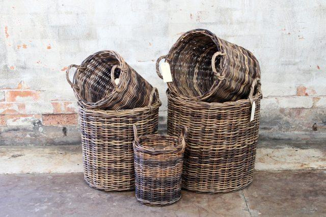 Cane wicker rattan baskets for indoor plants