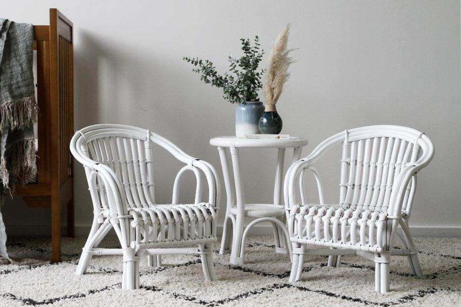 white rattan kids chair