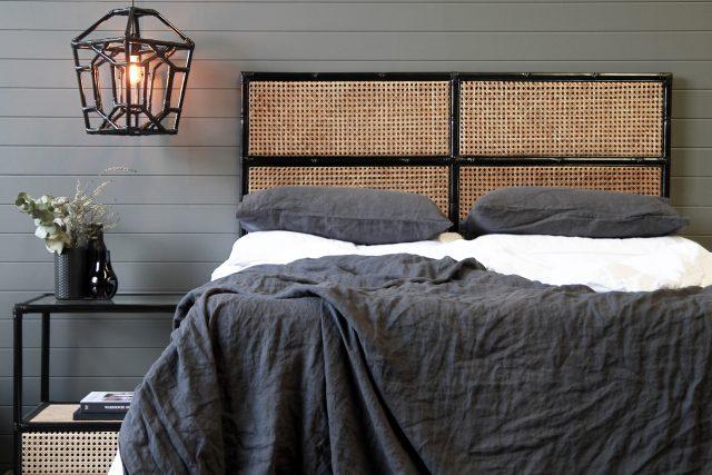 Black and natural woven bamboo bedhead