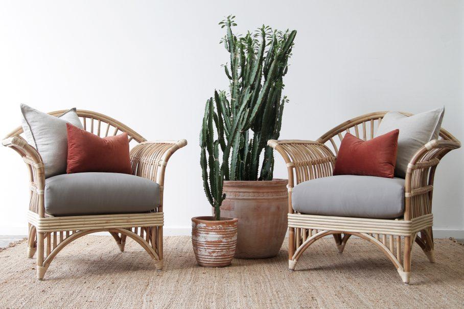 Rattan split cane armchair