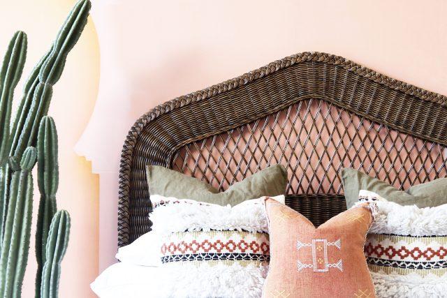 Wicker woven cane headboard