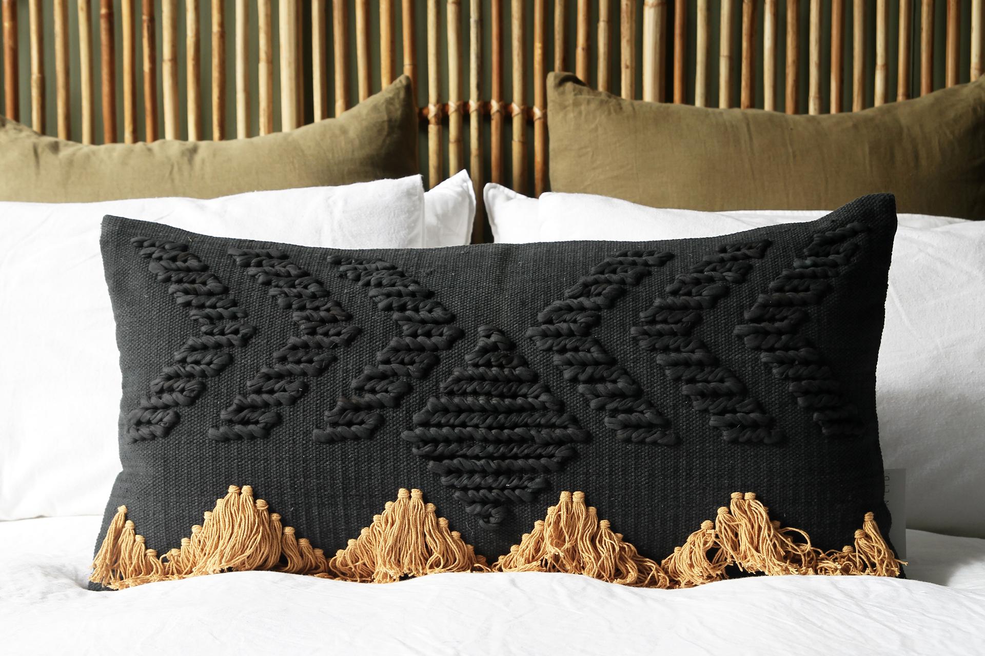 Fringe Rectangular Cushion Black With Tan Naturally