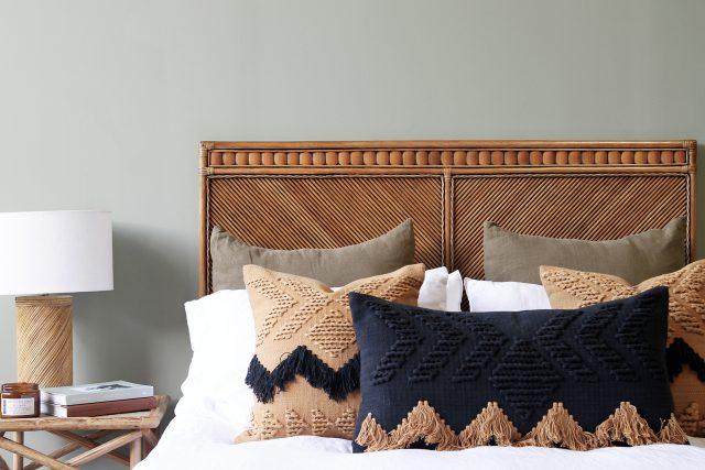 brown rattan bedhead